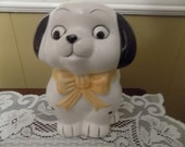 Vintage Dog Planter with yellow bow