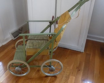 Vintage Folding Metal Baby Stroller 1950's Green Yellow, photo prop, collectible, store display
