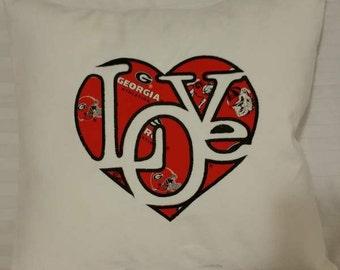 "Embroidered Georgia  Bulldog ""Love""  Pillow Cover  - 18 x 18"