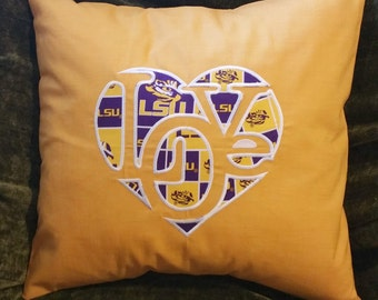 """Embroidered LSU """"Love""""  Pillow Cover  - 18 x 18- LSU"""