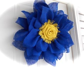 Blue burlap wreath/big flower wreath