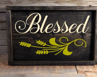 Blessed Framed Wood Sign ... Thanksgiving sign