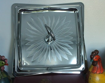 Square Sleek Mid Century Modern Tidbit tray Serving Dish/Tray & Stainless Appetizer plate, etched serving tray