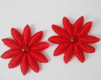 5 cm red lace flowers