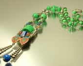 Antique/ vintage Art Deco 1920s 1930s silver plated, lapis glass and Peking glass, lavalier lariat necklace, Max Neiger jewelry jewellery