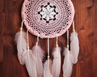 Dream Catcher - Clove Mornings - Unique Dream Catcher with Transitional Handmade Crochet Web and Rose Feathers