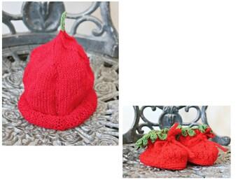 Handmade Crochet Baby Set Hat Booties Baby Shoes Baby Gift Hypoallergenic Red booties Baby shower gift Blessing Booties Pixie hat