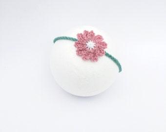 Baby crochet headband, pink flower headband, baby photoprop