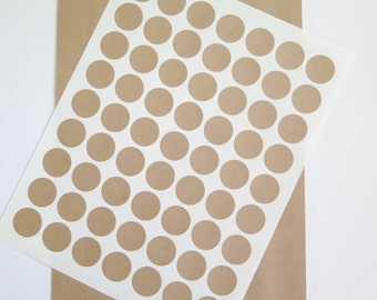 Kraft Labels | 1 inch Round Labels Brown Kraft Stickers - Ink Jet or Laser Printable for Wedding Invitations, Scrapbooking, Packaging