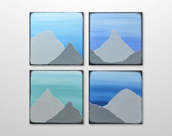 Original Mountain Painting Canvas Multiple Panel Abstract Art - Blue Grey Square Landscape Texture Painting - Home Decor Wall Art