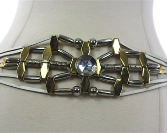White leather belt Gold metallic Rhinestone abstract chain Vintage 1980s disco bohemian chainbelt