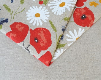 Lithuanian linen fabric with poppies and daisies/ meadows 19,68 x 59 inch