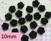 10 pcs 10mm Black Rose Cabochons, Black Flowers Floral Flatback Cabochon