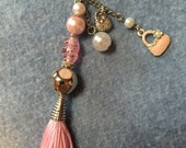 Pink Vintage Beaded Handbag/Journal Charm