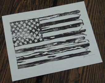 American Flag Woodblock Print