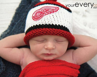 Detroit Red Wings Newborn Photo Prop, Red Wings Baby Hat, Detroit Redwings Baby Hat, Newborn Knit Hat, Baby Girl Redwings Hat, Baby Boy Hat