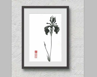 """Original Art """" Gracious Iris"""" - in Japanese style - sumi-e drawing with wash ink - Wall decor - bamboo brash on rice paper"""