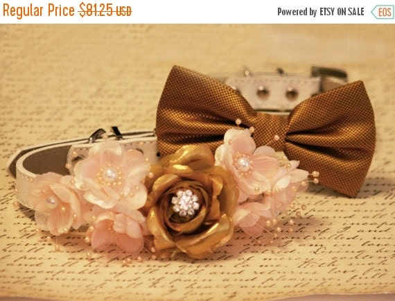 Gold And Peach Wedding Dog Collars Floral Wedding By