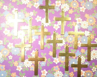 12 Vintage Brass 35mm Crosses