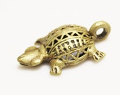 Turtle Brass Pendant from Africa, Jewelry Supplies, Ethnic Pendant (P110)