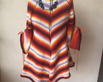 Pullover, poncho knitted by hand