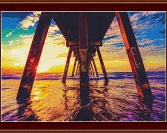 Sunset Under The Pier Cross Stitch Pattern
