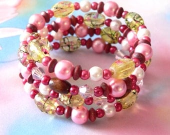 Pink And Red Memory Wire Bracelet Spring Cherry Blossom Wrap Bracelet