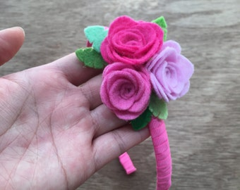 Pink Roses headband.  Felt flowers headband.  Flower girl headband. Roses headband. Spring headband. Flower fairy headband.