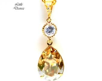 Gold Champagne Necklace Swarovski Crystal Golden Shadow Teardrop Pendant Bridal Necklace BridesmaidGift Wedding Jewelry Sparkly Pendant GS31