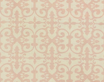 SCHUMACHER ENGLISH COUNTRY Chic Scrollworks Hand Blocked Linen Fabric 10 Yards Blush