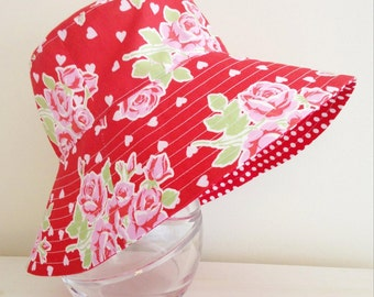 Girls hat in beautiful roses fabric- summer hat, bucket hat