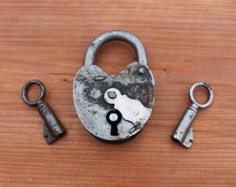 Padlock Soviet vintage padlock Small vintage padlock Russian padlock Rustic old padlock Locks collectibles Barn padlock