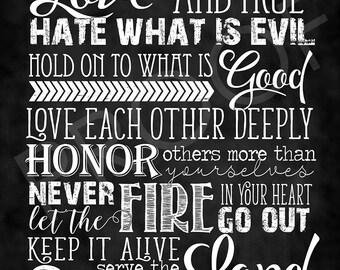 Scripture Art - Romans 12:9-11 ~ Chalkboard Style