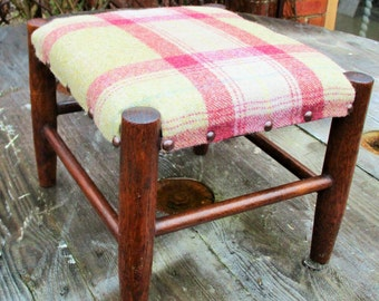 Farmhouse Style Vintage Footstool - 100% Wool Tartan Fabric
