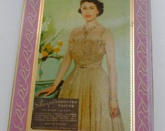 SALE 25% Vintage Queen Elizabeth II Coronation Toffee Tin Queen Elizabeth II Birthday April 21