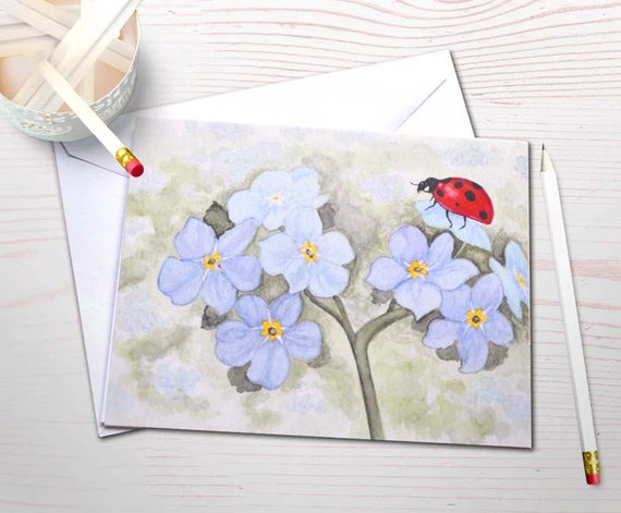 Personal stationery set, ladybug painting, forget me nots, watercolor notecards, watercolor garden, art reprints, blank cards, notecard set