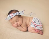 Anchor Knit Newborn Skirt and Knitted Headband, Sailor baby, Nautical theme
