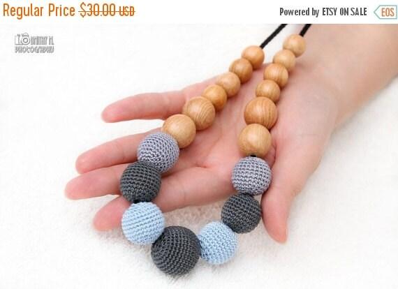 SALE 25% off Nursing necklace - Nursing Juniper Mom Necklace/Teething Necklace - grey, ice blue.