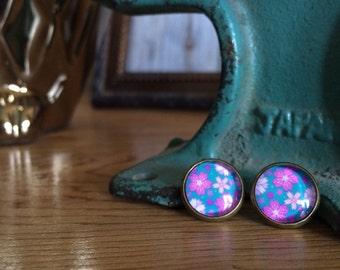 post earrings /// pink flowers