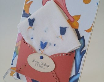 Vintage Appliqued Handkerchief Miss You Friendship Thinking Of You Hanky Greeting Card