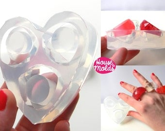 3 sizes wow  Bold faceted Clear Mold, Multi Size  Rings  Mold for Wow multifaceted rings-house of molds
