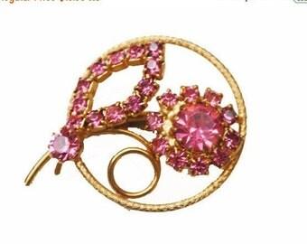 Pink Rhinestone Flower Brooch Mid century floral pin