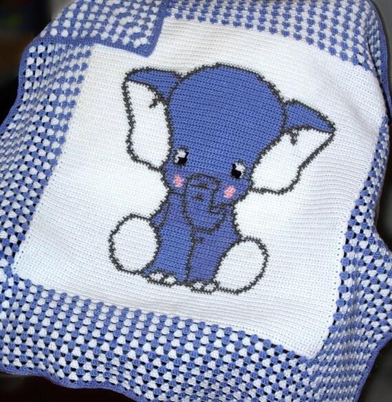 Free Filet Crochet Elephant Pattern : CROCHET Pattern Baby Blanket Pattern Elephant Crochet
