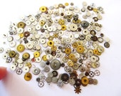 50 Vintage Tiny Art Deco Watch Parts, Wheels, Gears, Cool Style Watch Pieces, All Clean, For Steampunk Art, Scrap Booking, gluing, Jewelry