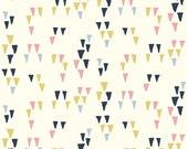 Birch Organic Fabrics WildLand Arrowhead White by Miriam Bos Navy Blue