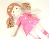 Handmade Rag Doll -- Eco-Friendly Fabric Doll --Camille Doll with Rosy Brown Felt Hair & Snowy Pink Batik Dress with Lace and Felt Buttons