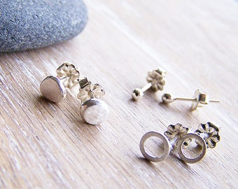 Silver Stud Earrings Set, Three pairs of Silver Studs, Sterling Studs Set