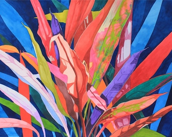 New Painting.....Art Original Watercolor Painting COLORFUL TI LEAVES