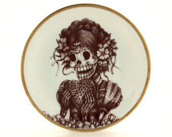 Frida Kahlo Altered Vintage Porcelain Plate Sugar Skull Day of the Dead Mexico Halloween Calavera Dia de los Muertos Wall Decoration