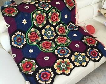 Art by Bertie - Crochet blanket Frida Flowers  Stylecraft cal 2016 - Collectors item!